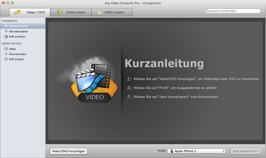 Any Video Converter for Mac konvertiert Videos für iPod, iPHone, Zune, Handys